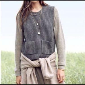 Madewell Merino Wool Ribbed Sweater Vest Grey M